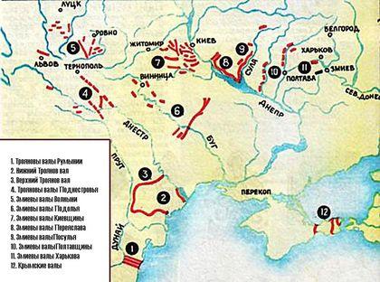 Карта всех построенных валов